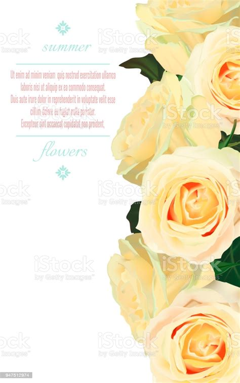 Vector Vertical Banners With Yellow Roses On White