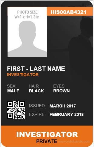 investigator id card templates ms word microsoft