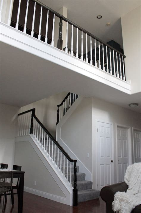 stair banister railing stairs before staircase painted banisters renovation modern staircases painting paint without railings dark bannisters spindles replace case