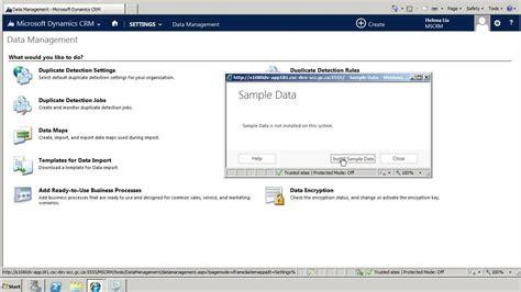 install sample data  microsoft dynamics crm
