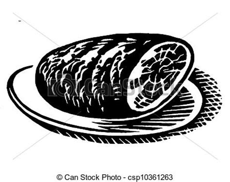 ham clipart black and white a black and white version of a vintage print of a ham