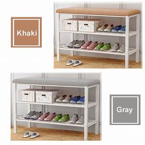 2, Tier, Shoe, Rack, Shoe, Bench, Storage, Racks, With, Metal, Frame, And, Fabric, Floral, Design, Seat