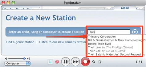 pandora jam expand window shrink window fixes search to