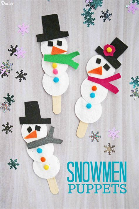 snowman puppet easy winter craft for darice 227 | snowman puppet hero image 1