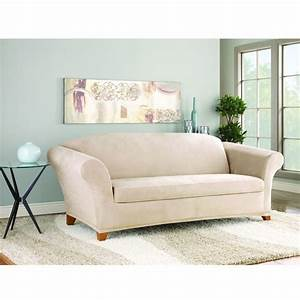 Sure fit stretch suede sofa 2 piece bench seat slipcover for 2 piece sectional sofa slipcover