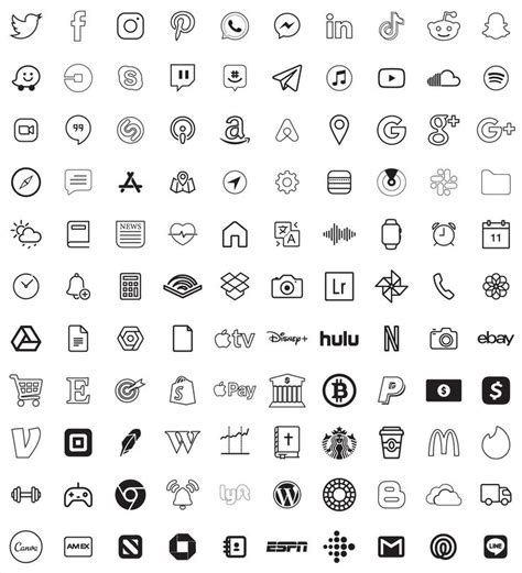 transparent black icons aesthetic l 5600 app icons pack