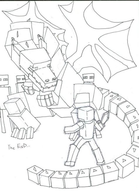 minecraft steve vs enderdragon coloring pages