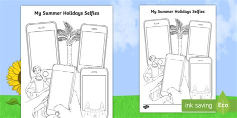ks  summer selfies writing template summer holidays