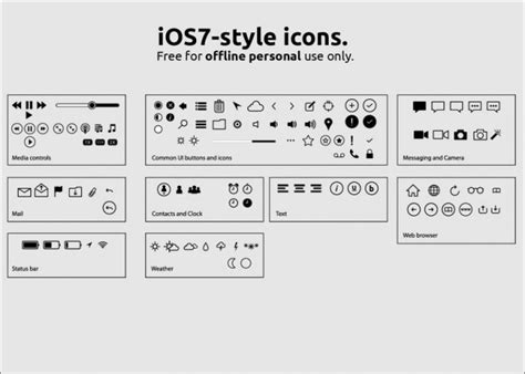 iphone icon meanings ios7 icon vector set vector free 1155