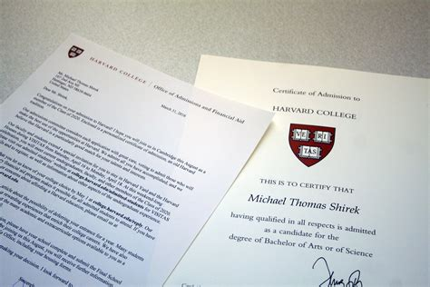 harvard acceptance letter harvard bound the county 22098