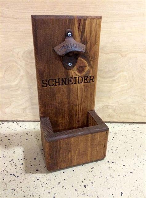 personalized wood bottle opener  cap catcher wall