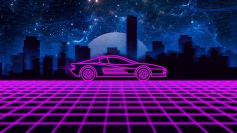 pink car illustration synthwave neon retrowave ferrari