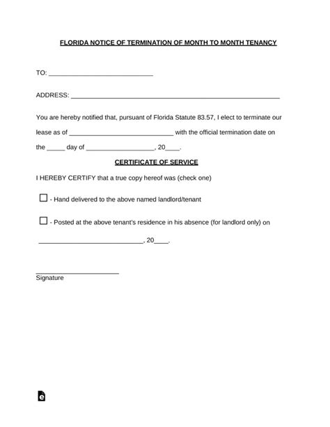 florida lease termination letter  day notice