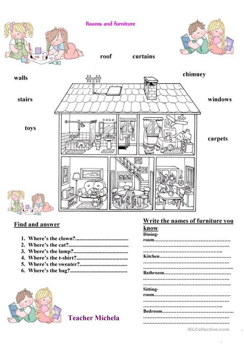 rooms  furniture worksheet  esl printable