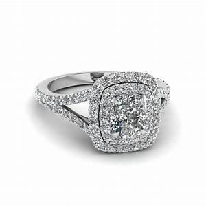 Double halo cushion ring fascinating diamonds for Double band diamond wedding ring