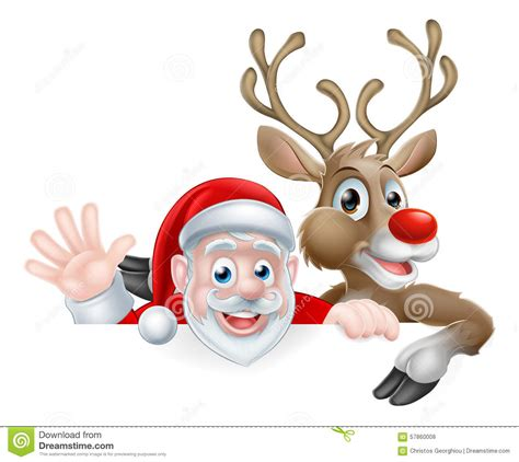 santa  reindeer cartoon stock vector image  banner