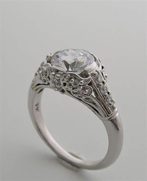 deco engagement rings pretty feminine deco antique style engagement ring