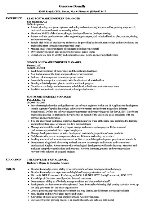 Sle Software Engineer Resume by Software Engineer Manager Resume Sles Velvet