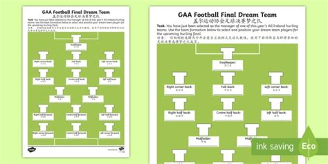 gaa football final dream team worksheet english