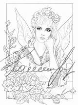 Beauty Coloring Fairy Books Vanity sketch template