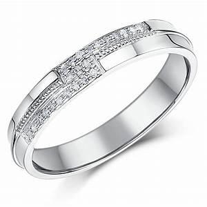 4mm 9 Carat White Gold 12 Point Diamond Set Wedding Ring