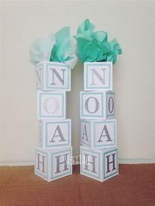 Baby shower centerpiece alphabet block centerpiece baby for Baby letter table for sale