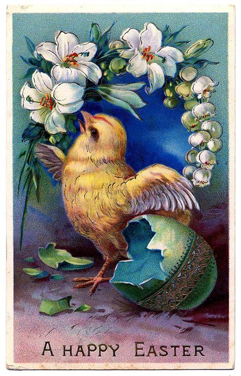 vintage easter clip art sweet baby chick  egg