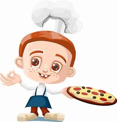 Pizza Pixabay Cartoon Boy Kid Holding Kitchen