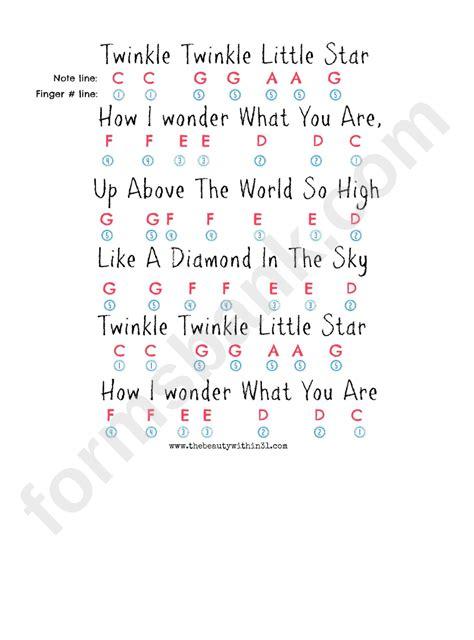twinkle twinkle  star chords sheet printable