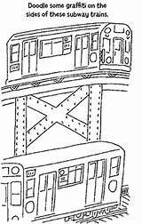 Subway Coloring Pages Nyc Trains Tunnel Cafe sketch template