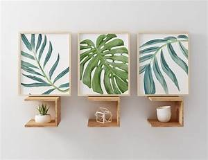 art livingroom tropical decor onther design idea and With best brand of paint for kitchen cabinets with monstera leaf wall art