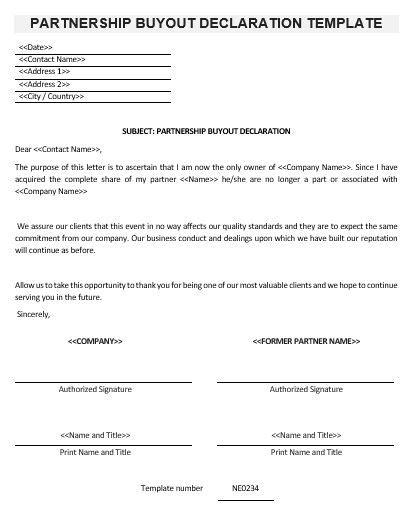 ne partnership buyout declaration template english