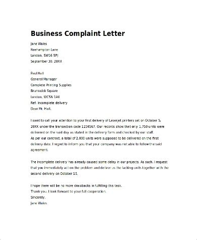 business letter samples