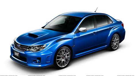 subaru blue subaru impreza wrx sti s206 in shine blue front side pose