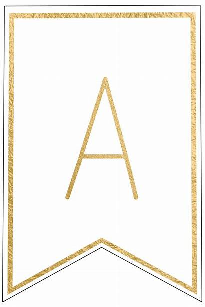 Banner Letters Printable Template Letter Gold Banners