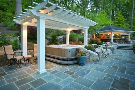 fiberglass pergola covering tub traditional patio