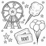 Wheel Coloring Ferris Carnival Bullet Journal Park Amusement Vector Doodle Fun Little Summer Tickets Doghousemusic Candy Cotton Epic Drawing Circus sketch template