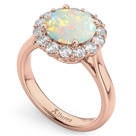 halo opal diamond engagement ring 14k rose gold 2 30ct ad4992