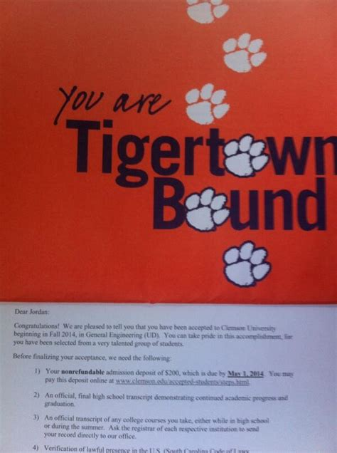 clemson acceptance letter clemson acceptance letter how to format cover letter 29859