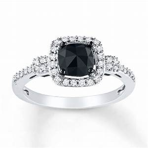 Kay black diamond ring 1 ct tw cushion cut 14k white gold for Black wedding rings with diamonds