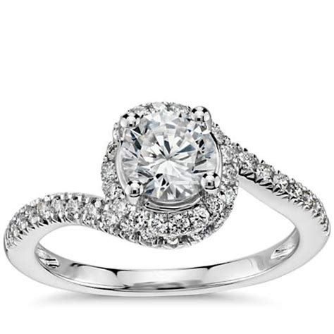 spiral halo pave diamond engagement ring   white gold