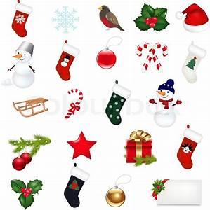 Big Christmas Icons Set Isolated On White Background