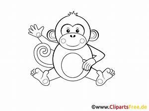 Affe, Einfache, Malvorlage, F, U00fcr, Kleine, Kinder