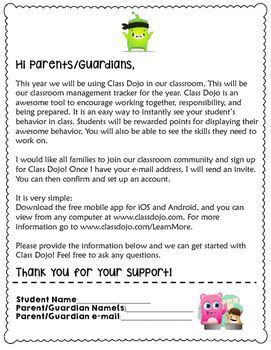 class dojo parent letter kindergarten class dojo dojo