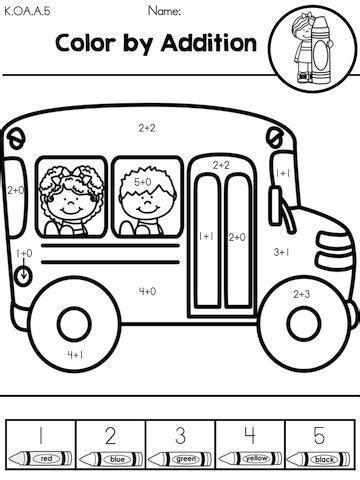 school kindergarten math worksheets buses