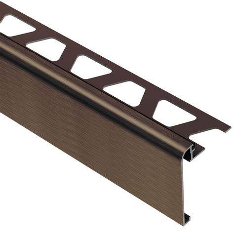 Tile Stair Nosing Profile by Schluter Rondec Step Brushed Antique Bronze Anodized