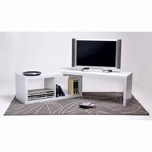 Meuble Tv Extensible : meuble angle tv blanc meuble tele d angle moderne ~ Teatrodelosmanantiales.com Idées de Décoration