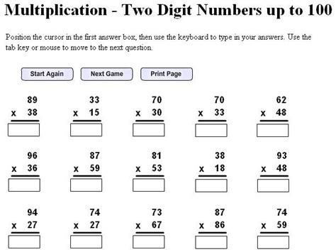 Double Digit Multiplication Worksheets Free  5th Grade Math  Multiplication Worksheets