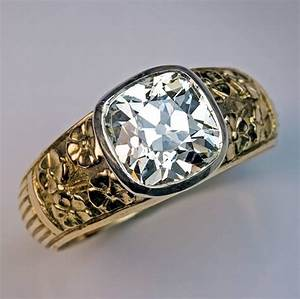 Art nouveau antique 283 carat diamond chased gold men39s for Russian wedding rings for sale