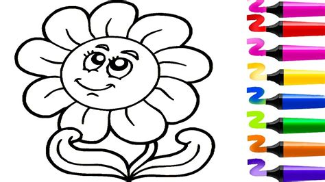 Dessin Facile! Dessin Fleur! Dessiner Et Colorier